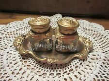 ANTIQUE GOLD ART NOUVEAU DOUBLE INKWELL SET With TRAY, SWEET CHERUBS