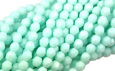 50 Pale Jade Faceted Round Fire Polished Glass Beads 6MM
