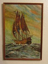 Vintage pintura al óleo a bordo del « buque » firmado por CWT - 1972