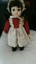 """Vintage Ceramic Girl Doll in Late 1800's Dress  """"Pioneer Girl"""" 17"""" with Stand"""