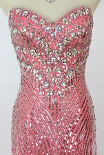 Size 4 Tony Bowls $550 Strapless Evening Coral Mermaid Long Gown Prom Formal