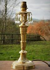 QUALITY VINTAGE CANDLESTICK STYLE BRASS TABLE LAMP GLASS CRYSTALS * SHABBY CHIC
