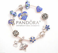 Authentic Pandora Silver Bangle Bracelet with European Charms Blue Love Mom
