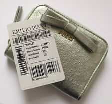 EMILIO PUCCI Green Metallic Leather Small Coin Purse Wallet Bag