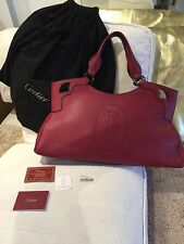 New Cartier Marcello De Cartier shoulder Hand Bag Leather Med Red Burgundy large