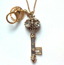 Butler and Wilson Clear Crystal Key Keyring or Necklace Gold Tone Vintage 45 New