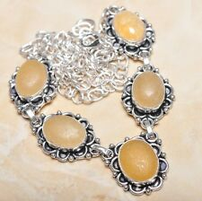 """Handmade Rough Yellow Agate Jasper 925 Sterling Silver Necklace 21"""" #N00779"""