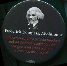 Frederick Douglass commemorative pin back with quotation