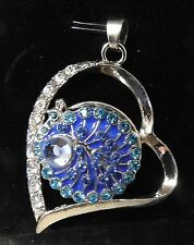 Silver Heart with Crystals on one side Pendant fits 18mm to 20mm Snap Buttons
