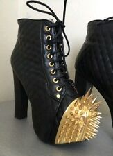 JEFFREY CAMPBELL CROWN PLATFORM ANKLE BOOTS 9 QUILTED BLACK LEATHER LITA SPIKE