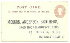 1/2D PINK POST CARD PREPRINTED ADDRESS ANDERSON BROTHERS IRON HOOP MANUFACTURERS