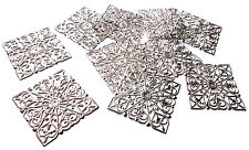 10 x Quality Silver Plated Square Filigree Stamped Wrap Embellishment, 40mm