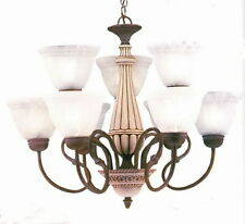 Textured Bronze And Alabaster Glass 9 Light Chandelier