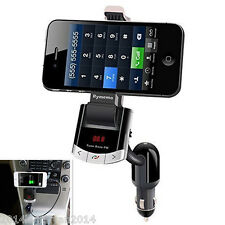 Wireless Bluetooth Car Kit FM Transmitter MP3 USB Charger Phone Holder W/ Remote