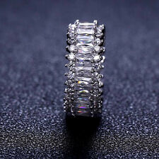 18k White Gold Baguette Swarovski Crystal Stone Eternity Ring Anniversary Band
