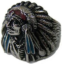 NATIVE INDIAN CHEIF W BONNET STAINLESS STEEL RING size 9 silver metal S-513 NEW