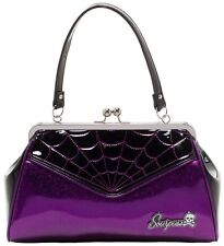 SOURPUSS SPIDERWEB BACKSEAT BABY PURSE PURPLE GLITTER VINYL ROCKABILLY NEW PUNK