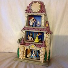 RARE Disney Beauty & the Beast ENCHANTED LOVE Figurine Diorama Clock- MIB
