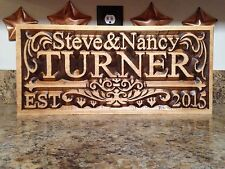 Personalized Family Last Name Sign Couple Wedding Gift Custom Carved Wood Plaque