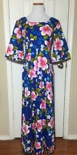 Ui Maikai HAWAIIAN Vtg Hostess Maxi Dress Blue Hibiscus Cotton Barkcloth Sz M