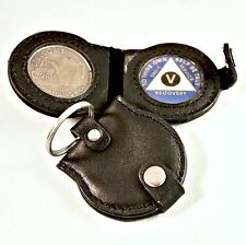 AA Double Medallion Leather Key Tag - AA Recovery AA Medallions / AA Coins