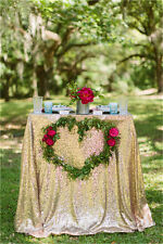 """Gold 48""""*72"""" Sequin Tablecloth Sequin Overlay for Wedding Banquet"""