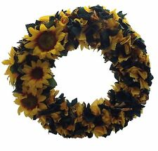 "16"" sunflower wreath hand made with cotton fabric & silk flowers on a straw back"