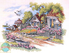 Cross Stitch Kit ~ Dimensions Cottages By The Sea Beach Town Homes #3240