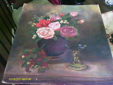 Still life with flowers - Original oil painting on canvas by S.HUNT-NO FRAME