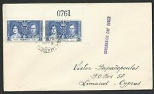 CYPRUS 1937 Coronation 2½p sheet # pair on FDC, Limassol cds...............50283