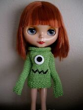 HANDMADE GREEN LONG SLEEVED KNITTED MONSTER SWEATER FOR BLYTHE DOLLS