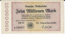 GERMANY DEUTSCHE REICHSBAHN - Berlin 10 MILLION 1923 AU S1014 1/7 types RH 22