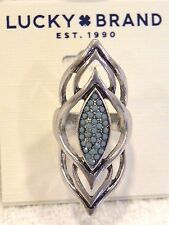 LUCKY BRAND RING, SIZE 7, OPEN SILVERTONE W/ TURQUOISE STONE DETAIL, NWT