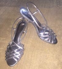New RALPH LAUREN Tinah Strappy Silver Metallic Leather Sandals Heels Shoes, 8 B
