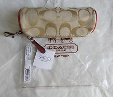 Coach Golf Ball Set Zipper Pouch Sig Light Khaki Leather Coral NEW