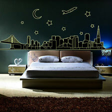 Bedroom Skyline City Night Glow in the Dark Removable Wall Sticker Decal Art New