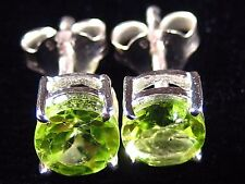Earrings - Brilliant Green Genuine Faceted Peridot .925 Sterling Silver Setting