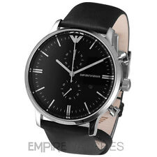 *NEW* MENS EMPORIO ARMANI GIANNI BLACK LEATHER WATCH - AR0397 - RRP £329.00