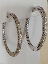 Diamond Hoop Earrings  Round 18k white Gold 1.00 carat  inside out VS G