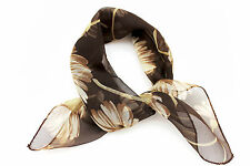 Women Fashion Brown Small Neck Scarf Sheer Fabric White Flowers Pocket Square
