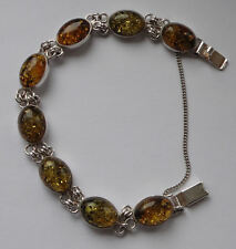 """Vintage solid Sterling Silver & faux amber BRACELET 7"""" A very pretty piece .925"""