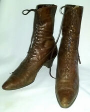 Antique High Top Granny Boots Lace Up Edwardian Leather Brown Sz 8 Narrow