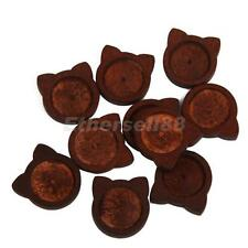 10x Cat Shape Antique Wooden Cameo Base Setting/Tray Fits Glass Cabochon DIY