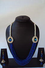 Indian Bollyood Ethnic Faux Pearl Beads Kundan Earring Party Wear Necklace Set
