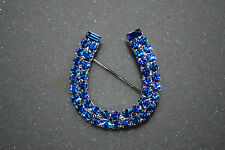 Horseshoe Pin Blue Crystals Cowgirl Western Rodeo Horse Stock Show Free Ship