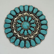 Sterling Silver Navajo Handmade X-Large Cluster Turquoise Round Pin & Pendant