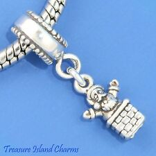 SANTA IN CHIMNEY CHRISTMAS 925 Sterling Silver EUROPEAN EURO Dangle Bead Charm