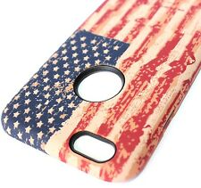 For iPhone 6 / 6S -SLIM FIT HARD TPU HYBRID CASE COVER VINTAGE USA AMERICAN FLAG