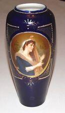 Antico 19th secolo Royal Vienna dipinta a mano ritratto VASO-donna con arpa
