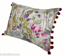 Handmade Voyage HEDGEROW cream linen fabric 17 13 cushion COVER pink pompoms